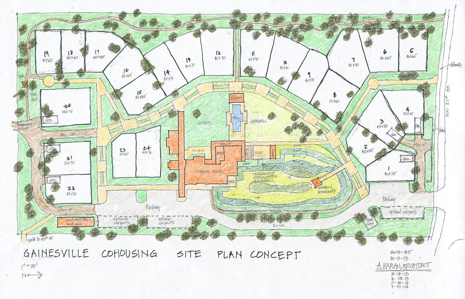 Gainesville cohousing has hired a builder gainesville cohousing Site plan design